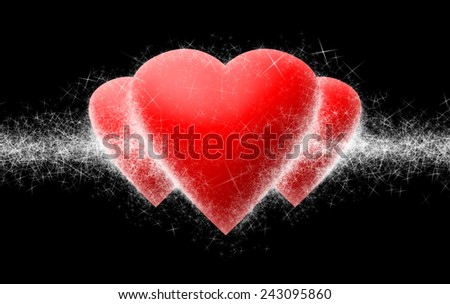Three hearts with little white sparks on black background - stock photo