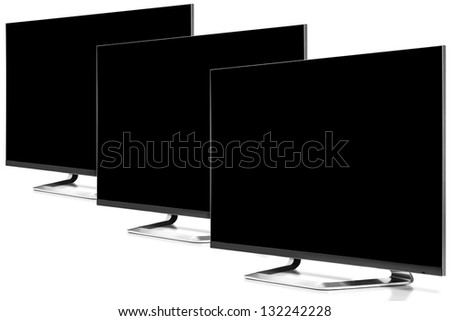 Three High definition televisions. - stock photo