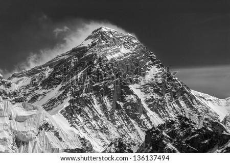 Three highest peak of the world mount Everest (8848 m). View from Gokyo Ri peak - Nepal, Himalayas (black and white) - stock photo