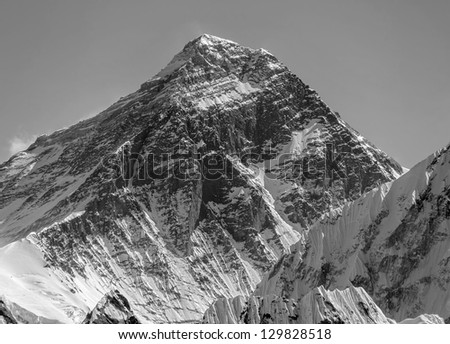 Three highest peak of the world Mt. Everest (8848 m). View from Gokyo Ri - Nepal, Himalayas (black and white) - stock photo