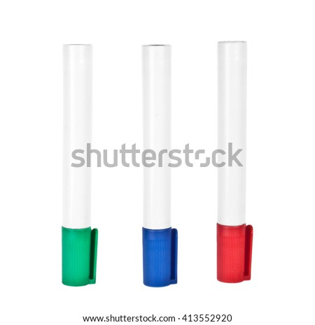 Three highlighter marker pens, isolated on white - stock photo