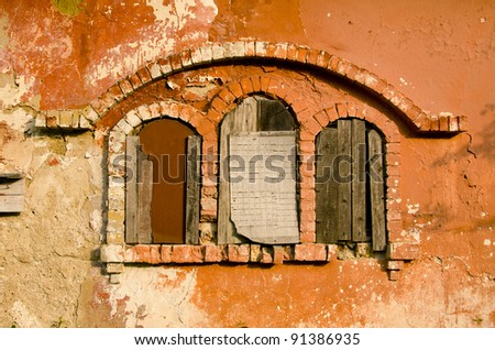 three historical manor ruins windows and wall - stock photo