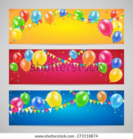 Three holiday banners with colorful balloons, pennants and confetti, Birthday background, illustration. - stock photo