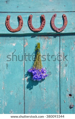 Three horseshoes and  bunch of cornflowers on blue old rustic wooden door - stock photo