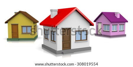 Three Houses on White Background 3D Illustration