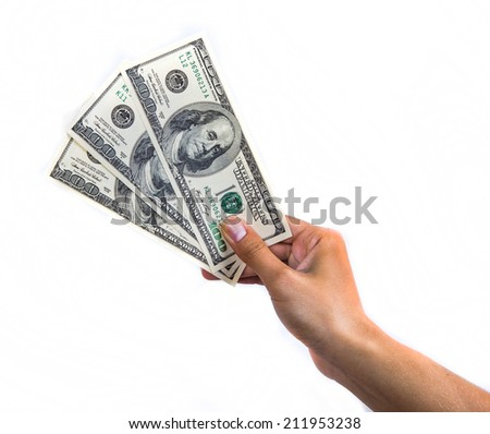 three hundred dollars in a hand  Conceptual photo isolated on white background