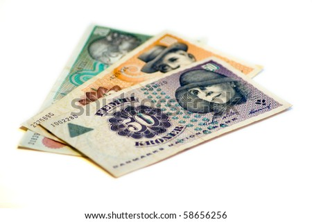 Three hundred fifty Danish Kroner (DKK) on a white background. - stock photo