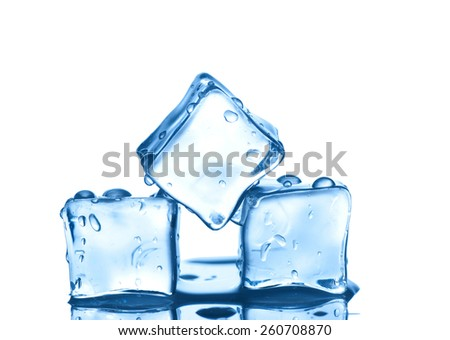 Three ice cubes  isolated on white background. - stock photo