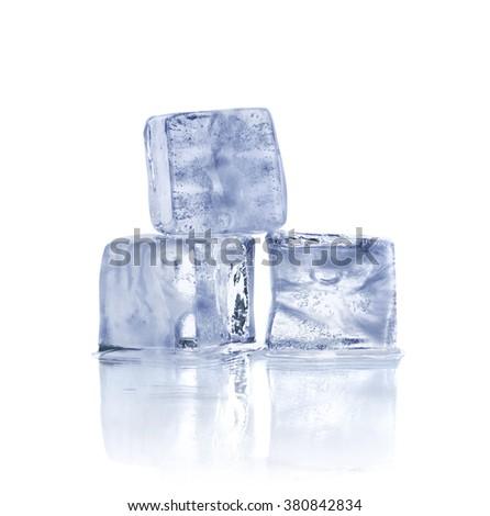 Three ice cubes on white background - stock photo