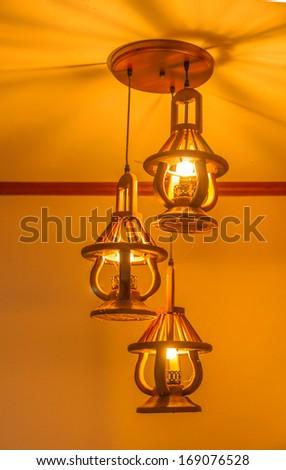 Three illuminate lamps - stock photo