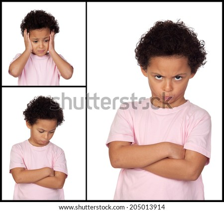 Three images of a little girl with gestures expressing negativity isolated on white background - stock photo