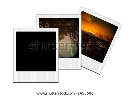 Three  instant photo images on white background.