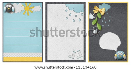 three invitation cards in weather theme - stock photo