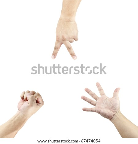 Three isolated cutout of hand playing the stone, paper and scissor game. - stock photo