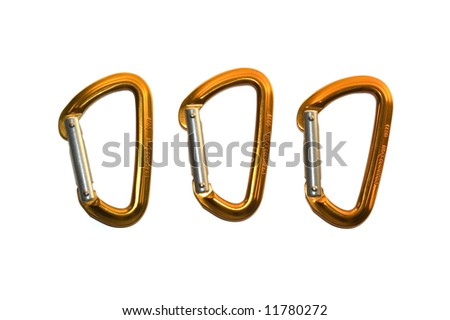 Three isolated orange and silver karabiners/carabiners on white background