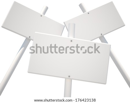 Three isolated white posters, 3D