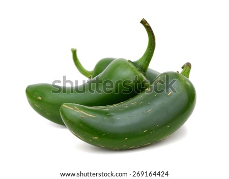 three jalapeno peppers isolated on white  - stock photo