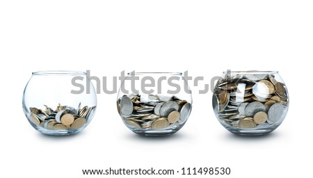 Three jar of coins like a diagram - stock photo