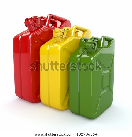Three Jerrycan. Fuel can on white background. 3d - stock photo