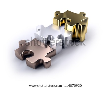 Three jigsaw pieces bronze silver and gold as a podium concept of winning - stock photo