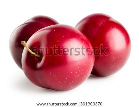 Three juicy plum isolated on a white background - stock photo
