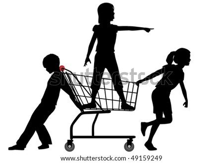 Three kids get a shopping cart rolling in a big shopping expedition.