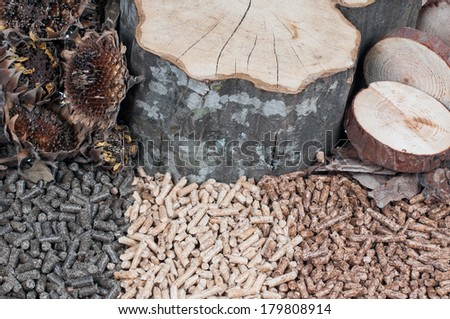 Three kind of pellets and materials made of - stock photo