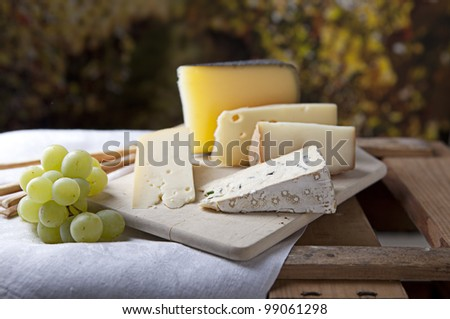 Three kinds of french cheese and white grapes - stock photo