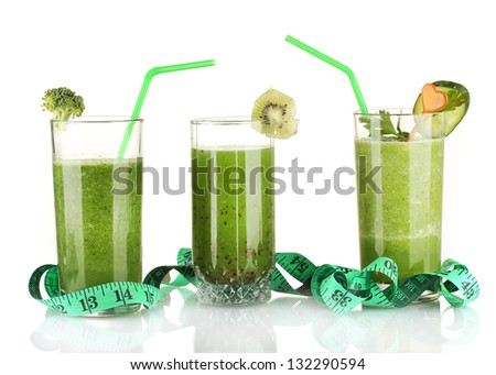 Three kinds of green juice isolated on white - stock photo