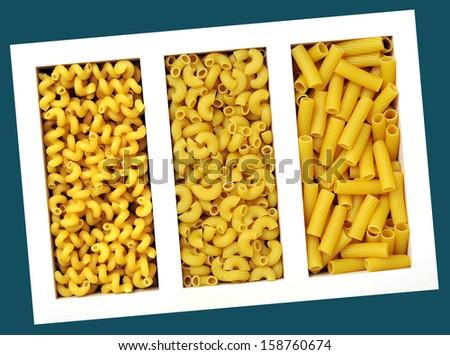 Three Kinds Of Pasta Cellentani Elbow Macaroni Tortiglioni