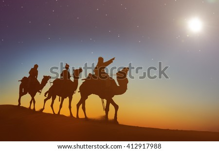 Three Kings Looking At The Star Concept