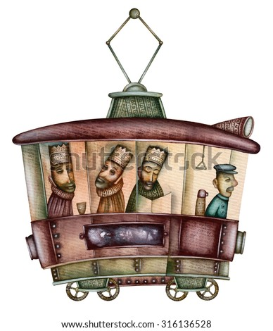 Three Kings. Three wise men in a tram - stock photo