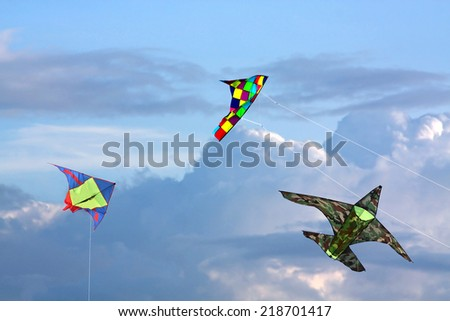 Three kites in sky