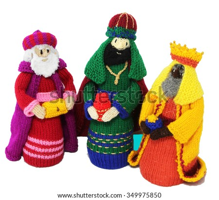 Three Knitted Kings isolated - stock photo