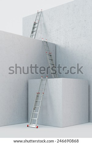 Three ladders on a construction site on the way up (3D Rendering)