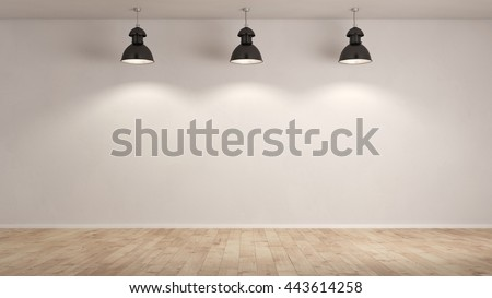 Three lamps hanging in an empty room in front of a white wall (3D Rendering) - stock photo