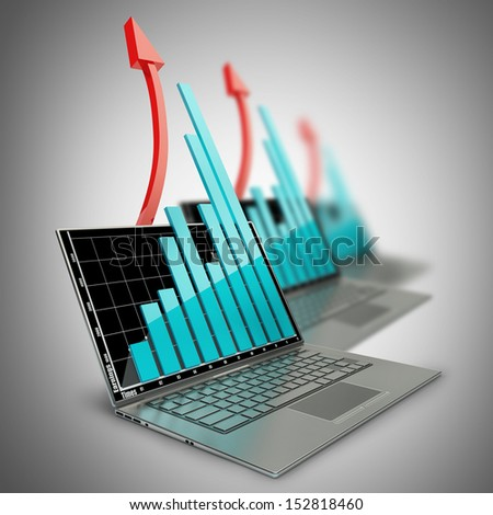 three laptops with graph and red arrow. High resolution 3D