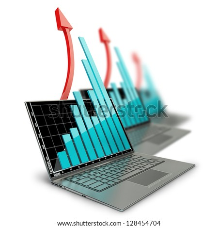 three laptops with graph and red arrow isolated on white background. High resolution  3D