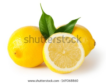 Three lemons with leaves isolated on white background