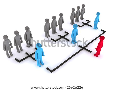 Three levels of organizational structure. This is 3d render. - stock photo