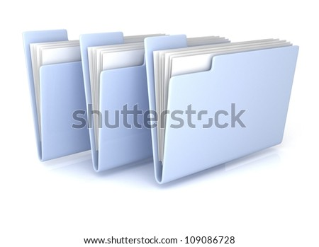 Three Light Blue open folders with documents