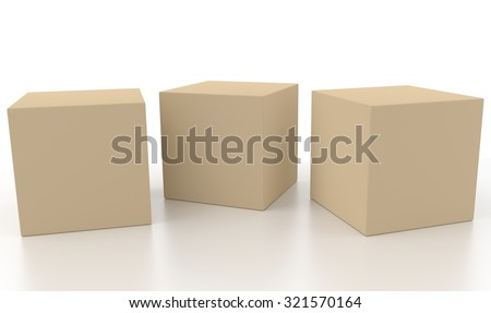 Three light brown 3d blank concept boxes next to each other, with reflection, isolated on white background. Rendered illustration.