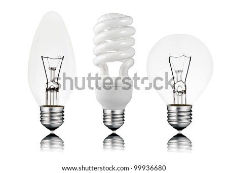 Three Light bulbs - Saver, Candle & Golf Ball Shape with Screw Bottom and Reflection Isolated on White Background. Switched OFF - stock photo