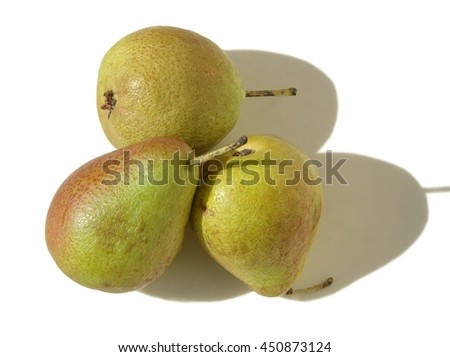 Three little forelle pears in the sunshine - stock photo