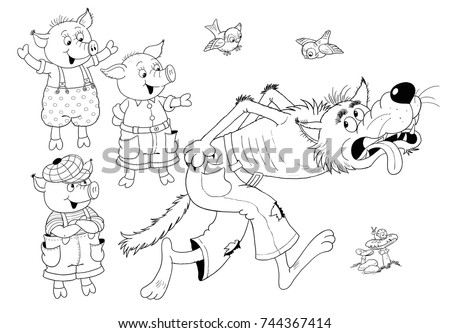 christmas wolf coloring pages | Santa Claus Carrying Christmas Gifts His Stock Vector ...