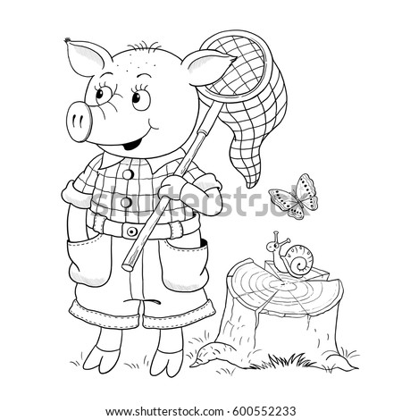 A Cute Pig With Butterfly Net Coloring