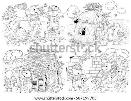 Three Little Pigs Fairy Tale Coloring Stock Illustration 607199903 ...