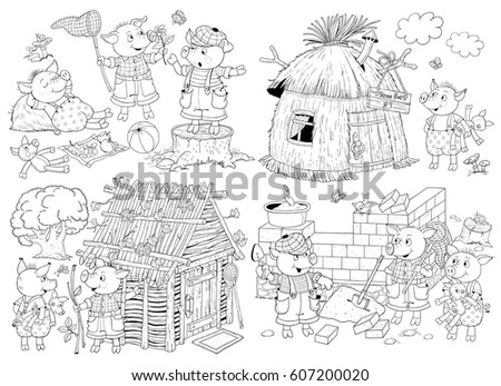 Three Little Pigs Fairy Tale Coloring Stock Illustration 607200020 ...