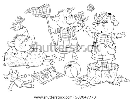 Three Little Pigs Fairy Tale Cute Stock Illustration 589047773 ...