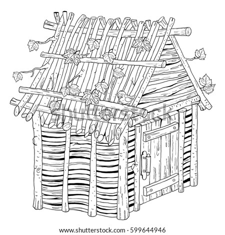 Three Little Pigs Fairy Tale House Stock Illustration ... House Made Of Sticks Cartoon
